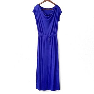 GAP Blue Cowl Neck Elastic Waist Maxi Dress Size M